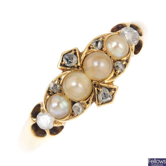 A late Victorian 18ct gold diamond and split-pearl ring.