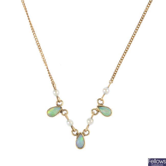 An opal and seed pearl necklace.