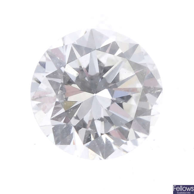 A brilliant-cut diamond, weighing 0.42ct.