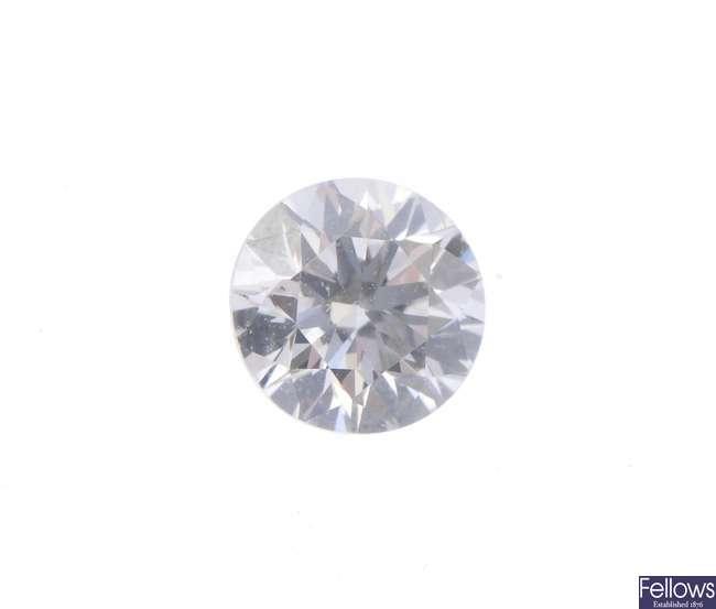 A brilliant-cut diamond, weighing 0.39ct.