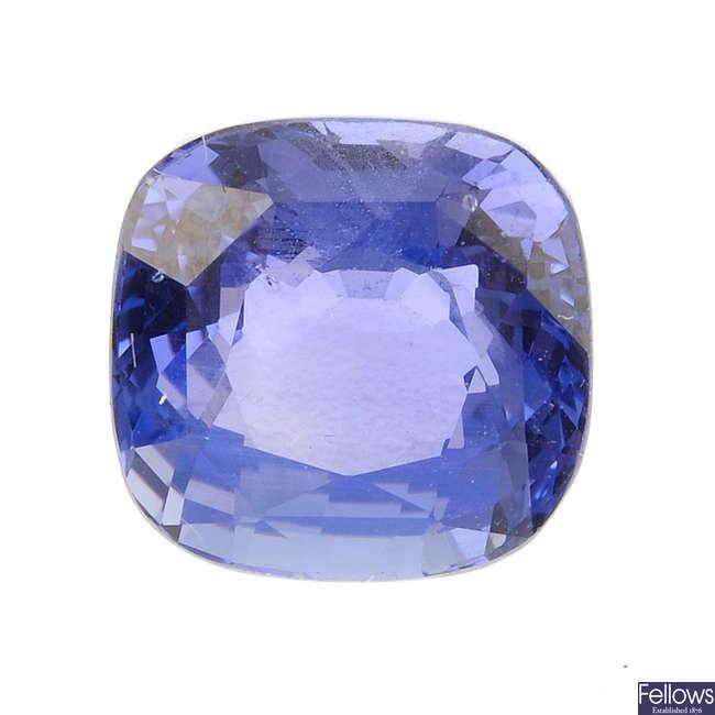 A cushion-shape sapphire, weighing 3.82cts.