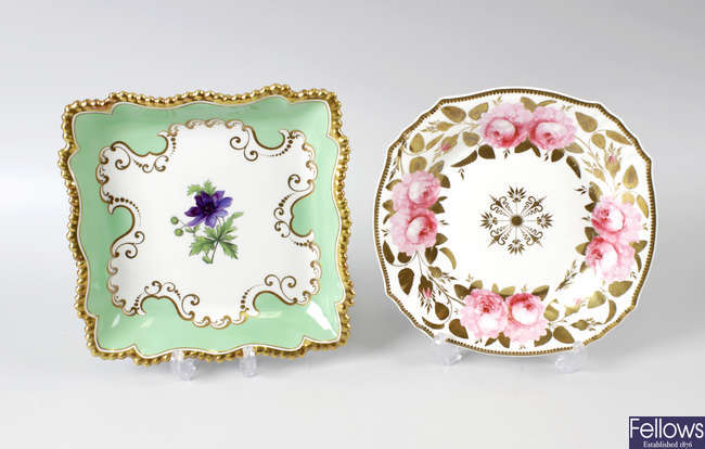 An early 19th century Worcester Flight Barr and Barr Azure Anemone plate, together with another plate.