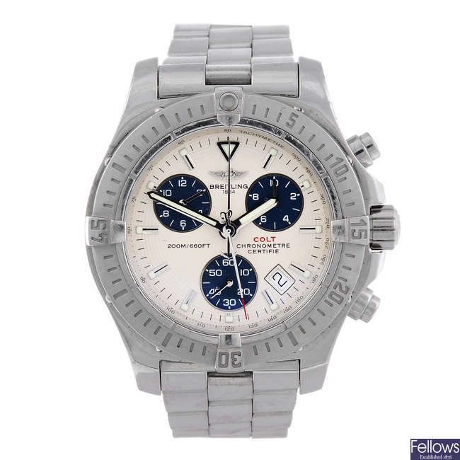 BREITLING – a gentleman's stainless steel Colt chronograph bracelet watch.