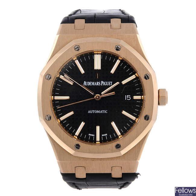 AUDEMARS PIGUET – a gentleman's 18ct rose gold Royal Oak wrist watch.