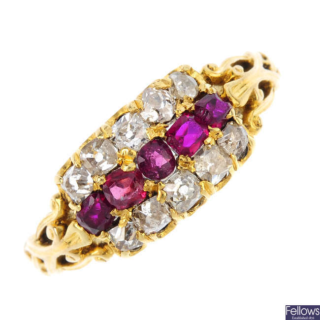 A mid Victorian gold ruby and diamond ring, circa 1860.