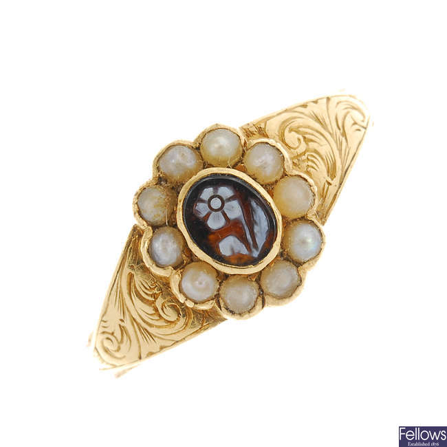 A late Victorian gold split pearl forget-me-not memorial ring.