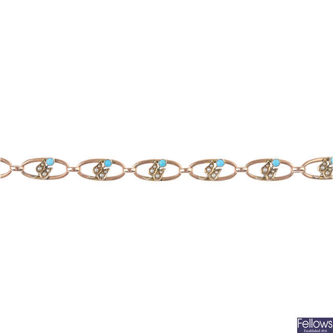 An early 20th century turquoise and split-pearl bracelet.