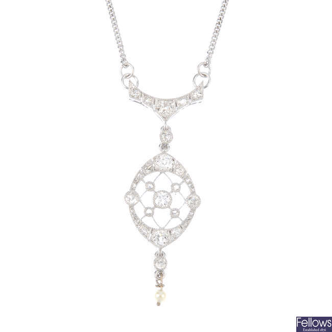 A diamond and seed pearl necklace.