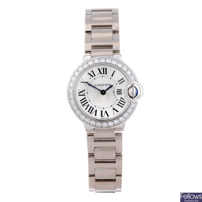 CARTIER - an 18ct white gold Ballon Bleu bracelet watch.