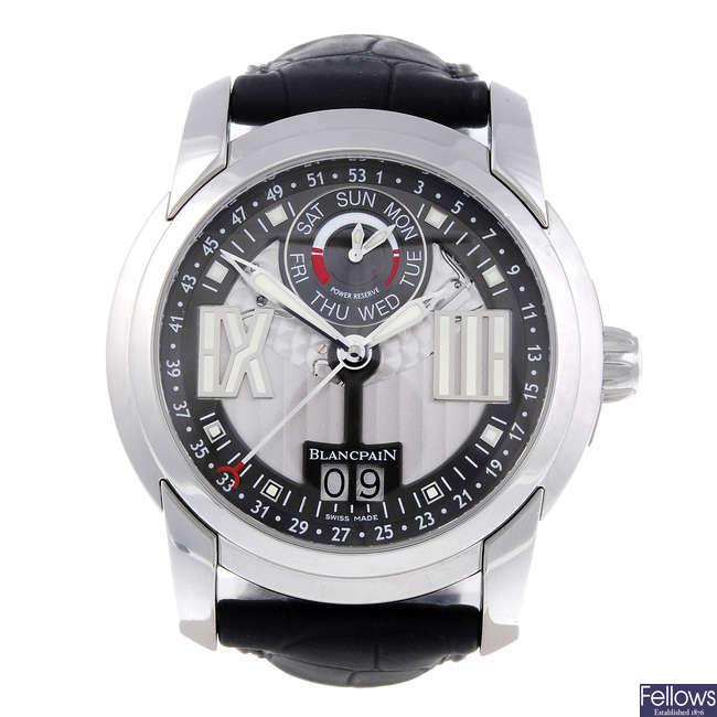 CURRENT MODEL: BLANCPAIN - a gentleman's stainless steel L-Evolution Semainier Grande Date 8 Jours wrist watch.