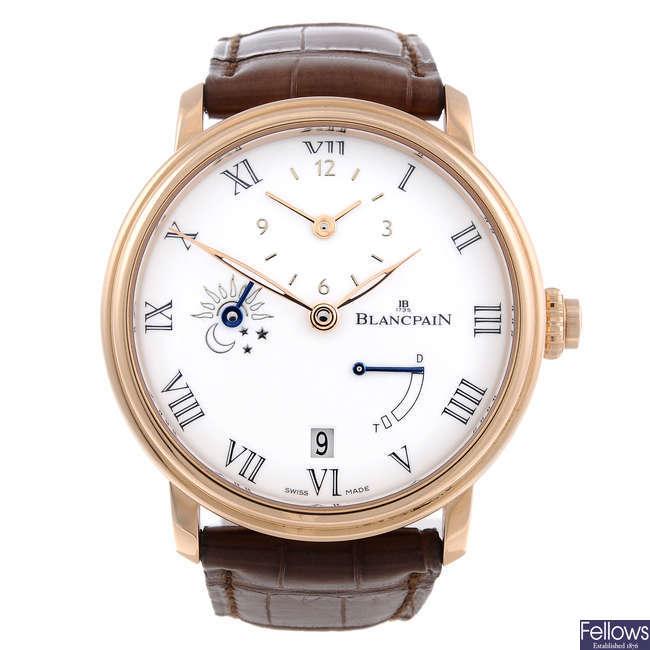 CURRENT MODEL: BLANCPAIN - a gentleman's 18ct rose gold Villeret Demi-Fuseau Horaire 8 Jours wrist watch.