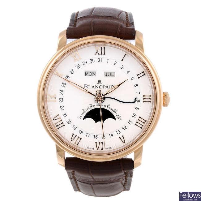 CURRENT MODEL: BLANCPAIN - a gentleman's 18ct rose gold Villeret Quantième Complet Demi-Savonette wrist watch.