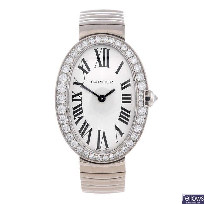 CARTIER - an 18ct white gold Baignoire bracelet watch.