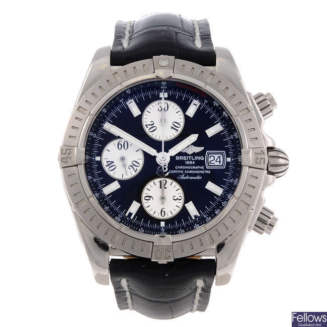 BREITLING - a limited edition gentleman's 18ct white gold Chronomat Evolution chronograph wrist watch.
