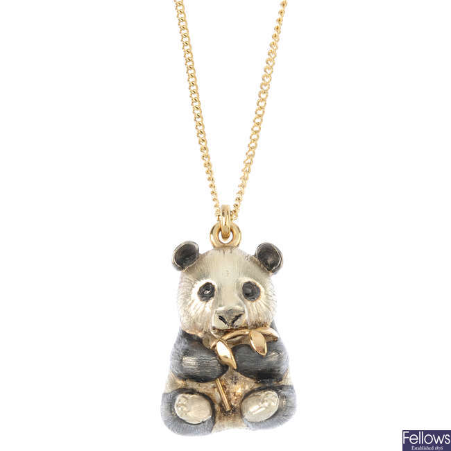 A 9ct gold panda pendant, with chain.