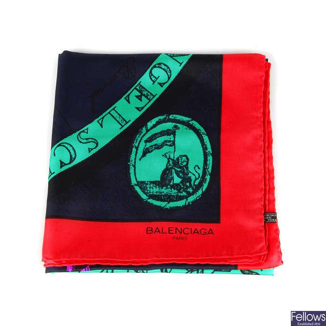 BALENCIAGA - a silk scarf.
