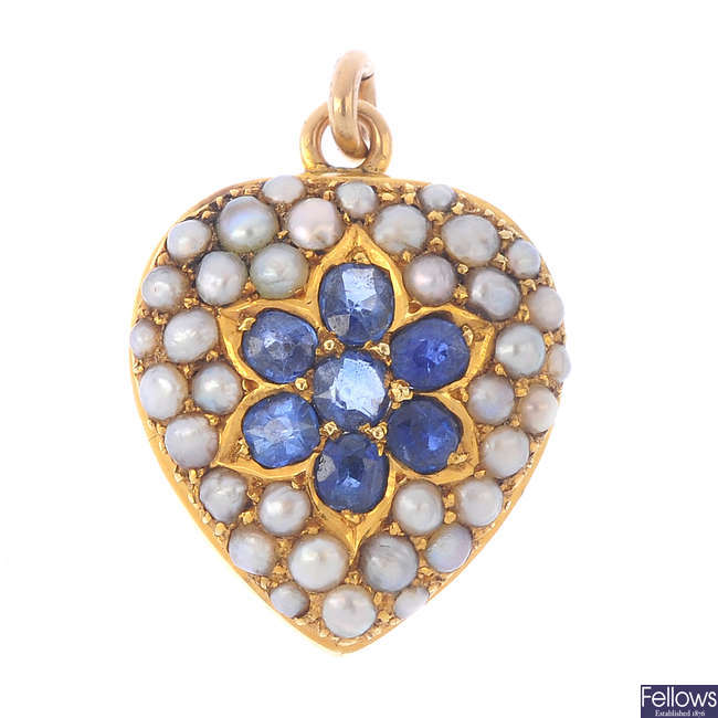 An early 20th century 15ct gold sapphire and split pearl heart pendant.