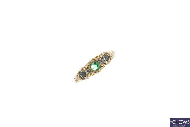 An early 19th century 18ct gold gem-set ring.