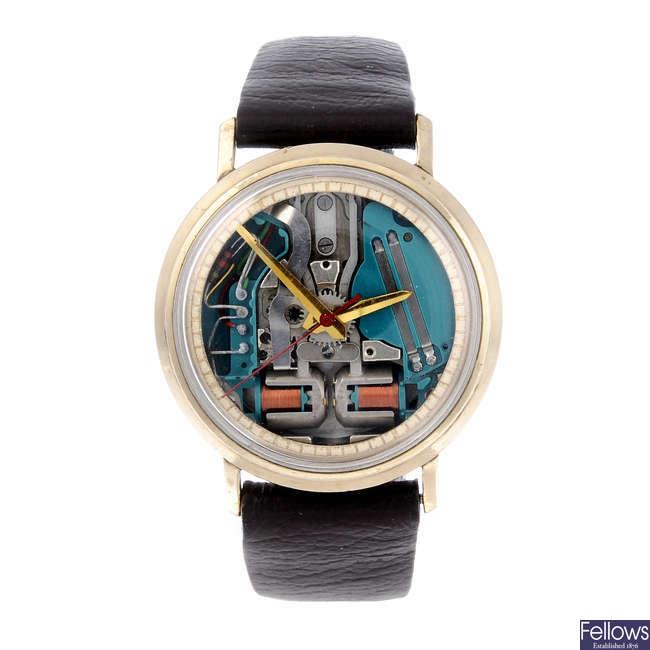 BULOVA - a gentleman's gold plated Accutron Spaceview wrist watch.