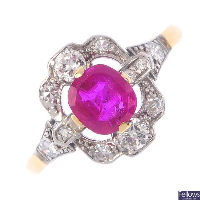 A Burma ruby and diamond cluster ring.