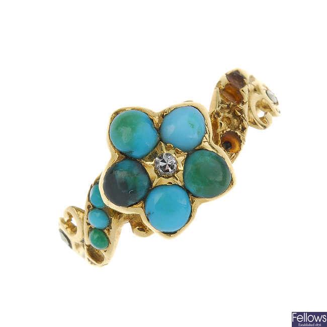 A mid Victorian gold gem ring.