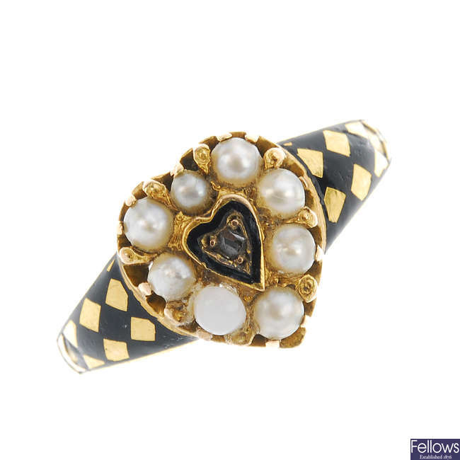 A late Victorian 15ct gold split pearl, diamond and enamel ring