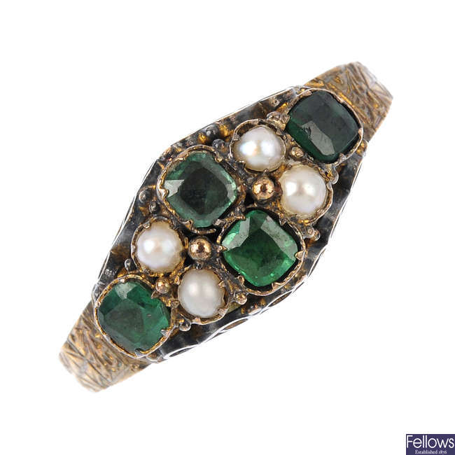 A mid Victorian emerald and split pearl dress ring.