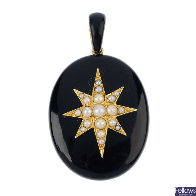 A late Victorian gold, onyx and split pearl locket.