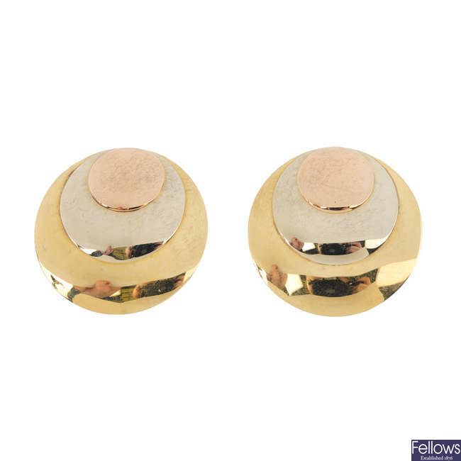 A pair of 18ct gold earrings.