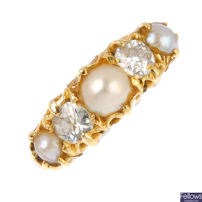 An early 20th century 18ct gold split pearl and diamond ring.