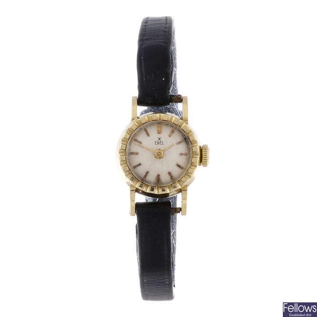 EBEL - a lady's yellow metal wrist watch.