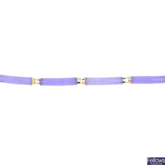 A dyed jade bracelet.