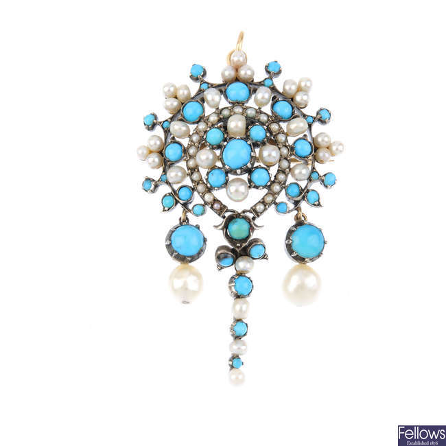A late 19th century continental silver and gold, turquoise and cultured pearl pendant.