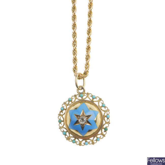 A late Victorian gold diamond, enamel and turquoise set pendant with later chain.