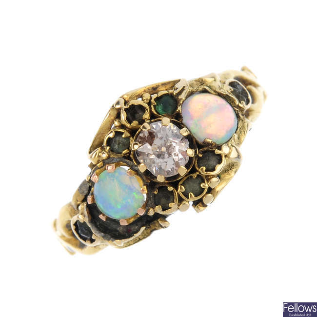 A mid Victorian 15ct gold, diamond opal and paste dress ring.