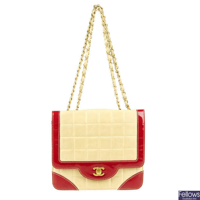 CHANEL - a vintage Choco Bar Flap handbag.