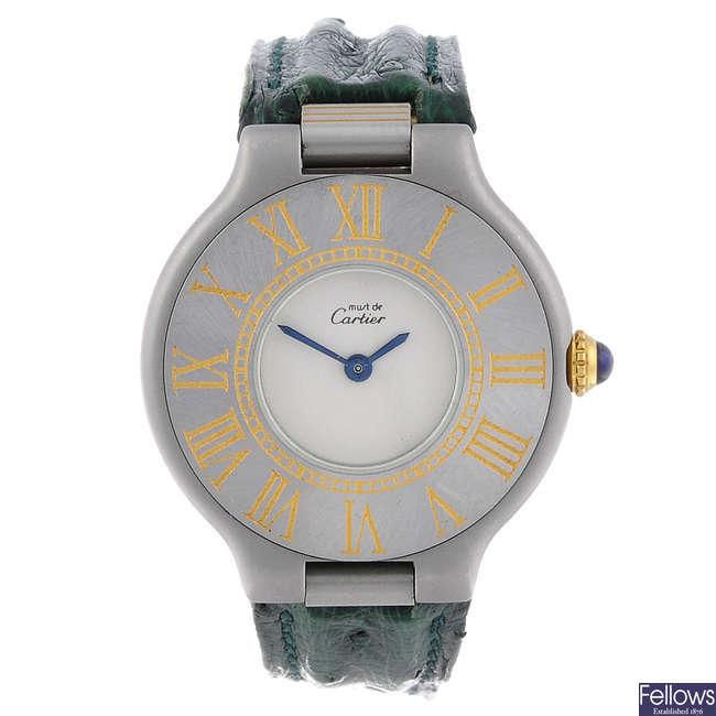CARTIER - a stainless steel Must de Cartier 21 wrist watch.