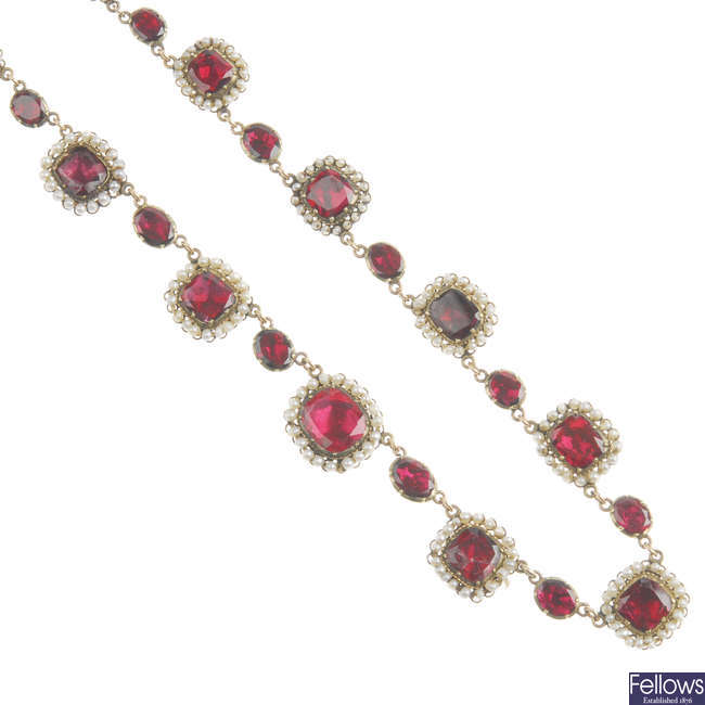 An early Victorian foil-back garnet and seed pearl necklace, with similar brooch.