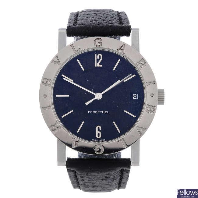 BULGARI - a gentleman's stainless steel Perpetuel wrist watch.