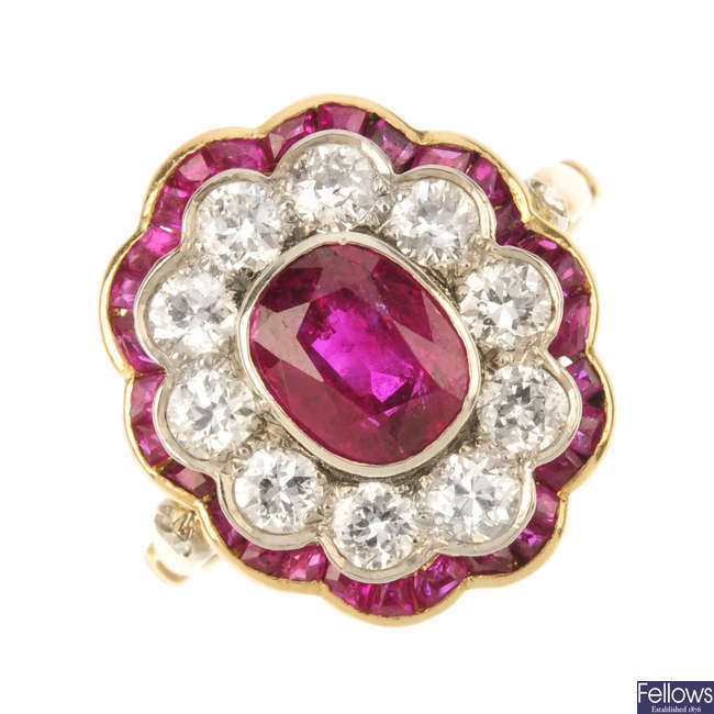 A mid 20th century Burma ruby and diamond cluster ring.