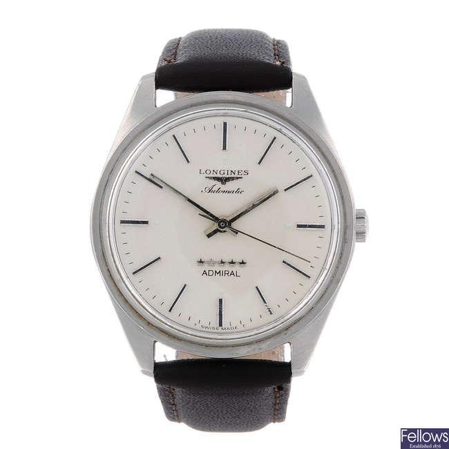 LONGINES - a gentleman's stainless steel Admiral wrist watch.