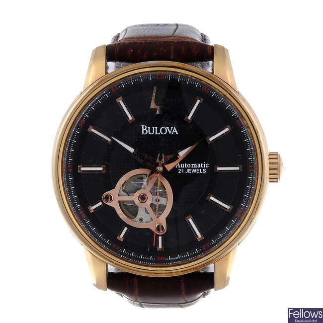 BULOVA - a gentleman's rose gold plated wrist watch.