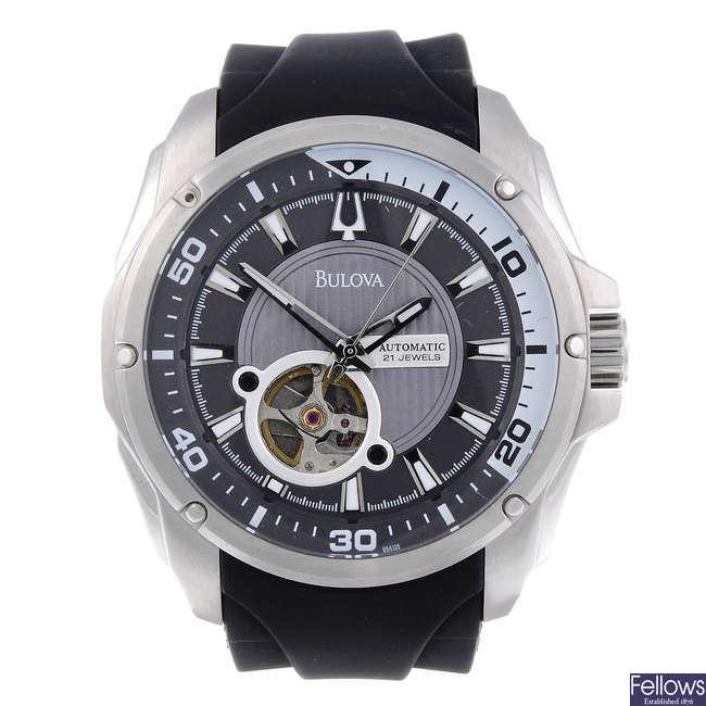 BULOVA - a gentleman's stainless steel wrist watch.