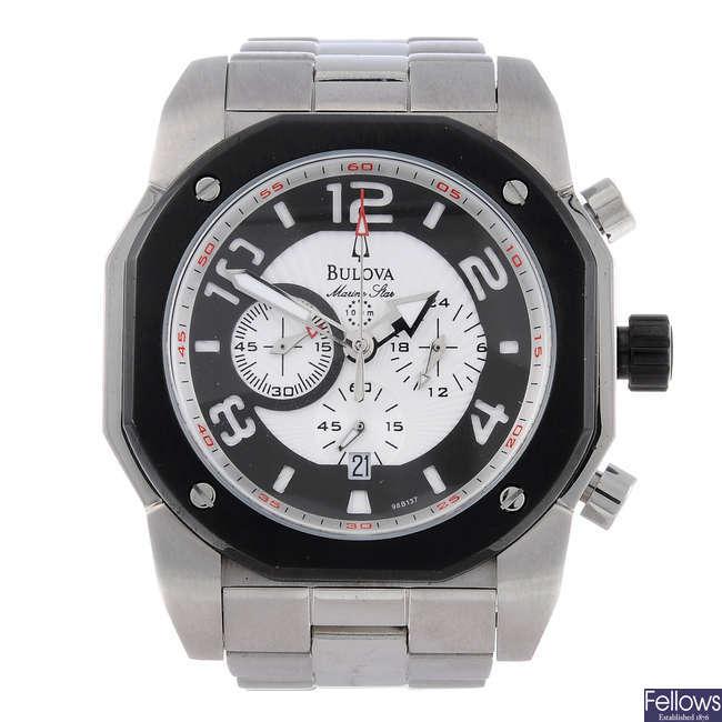 BULOVA - a gentleman's bi-material Marine Star chronograph bracelet watch.