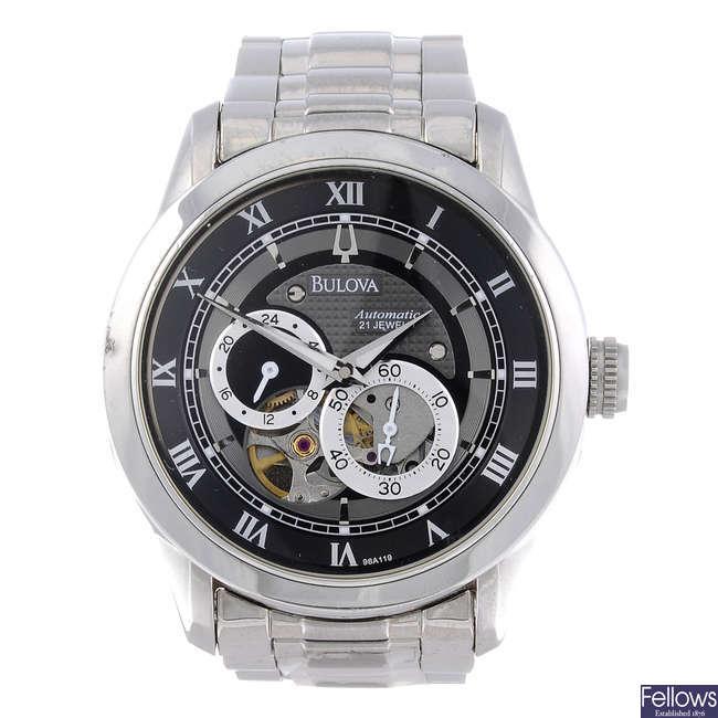 BULOVA - a gentleman's stainless steel bracelet watch.