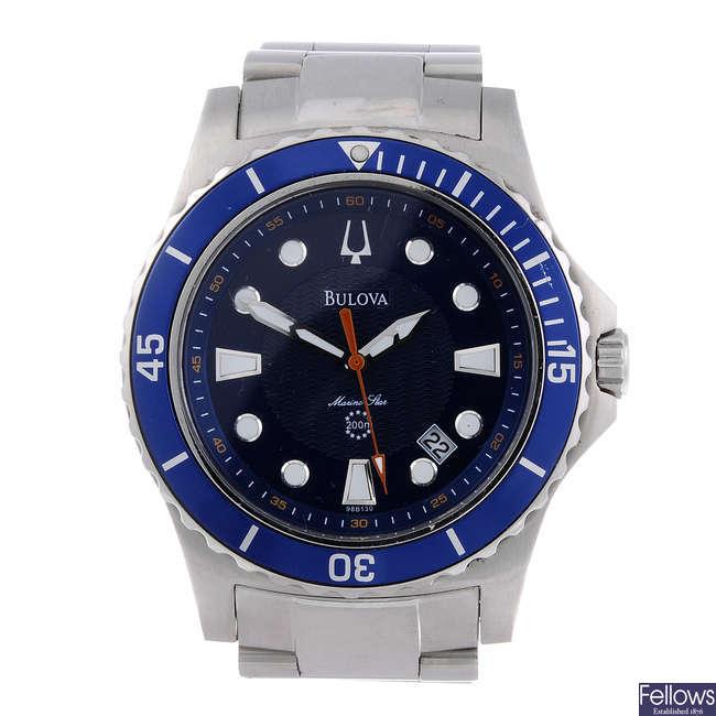 BULOVA - a gentleman's stainless steel Marine Star bracelet watch.