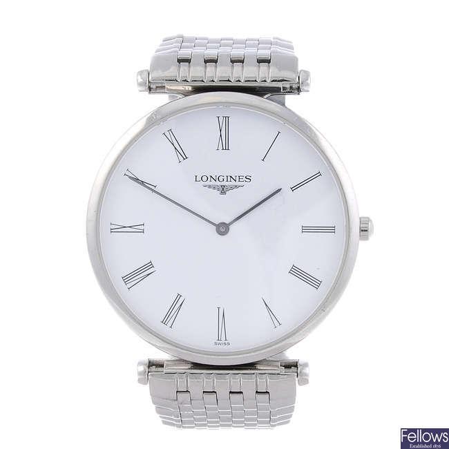 LONGINES - a gentleman's La Grande Classique stainless steel bracelet watch.