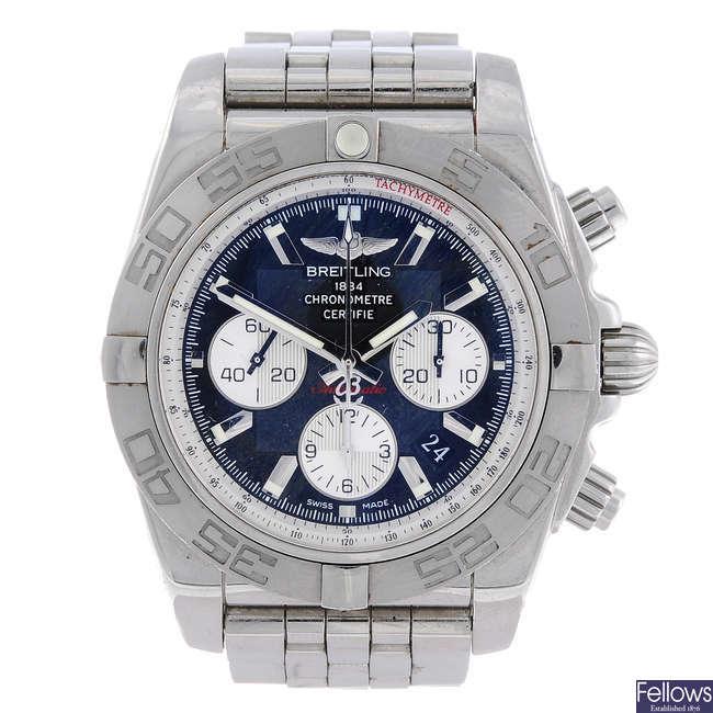BREITLING - a gentleman's stainless steel Chronomat 01 chronograph bracelet watch.