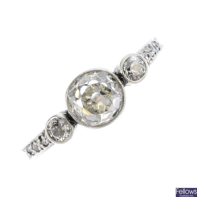 A mid 20th century diamond three-stone ring.