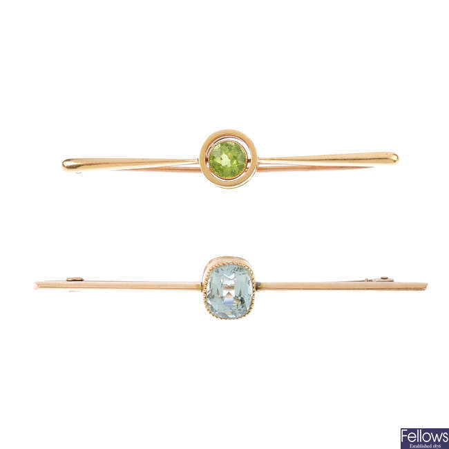 Two gem-set bar brooches.